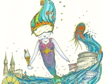 A5 Illustration The Naughty Mermaid - Limited Edition Print