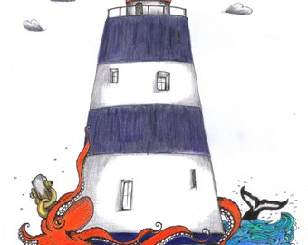 A4 Illustration Hook Lighthouse - Limited Edition Print