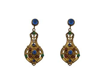 Ornate Seashell P153 summer earrings ocean jewelry antique brass finish hypoallergenic titanium post earrings vacation jewelry