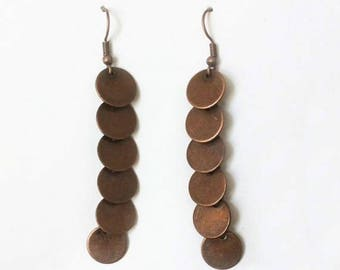 Vintage 1990's Brown Bronze Boho Round Link Disk Dangle Drop Statement Earrings