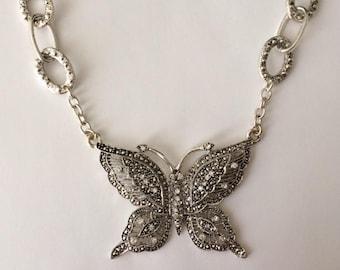 Vintage 90's Diamante Rhinestones Marcasite Butterfly Statement Chain & Pendant Necklace