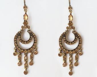 Vintage 1980's Gold Peach Pastel Orange Chandelier Dangle Drop Elegant Statement Threader Latch Back Earrings