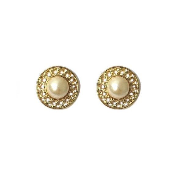 Vintage 1970/'s Gold White Pearl Spiral Square Floral Ridged Round Circle Medium Statement Chic Classic Clip On Earrings