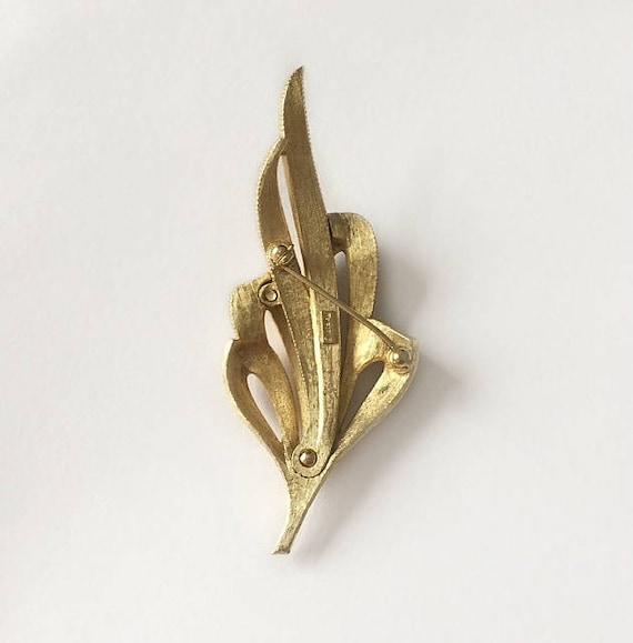 Vintage 1950/'s Dark Amber Brown Czech Glass Gold Tone Meandor Setting Statement Brooch