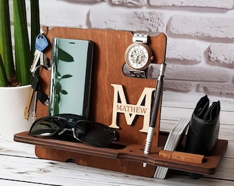 Custom Docking Station Wood Phone Stand Wooden Night Organizer Xmas Gift Christmas Gift For Husband Mens Docking Station Boyfriend Gift