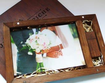 Sale 10 Wooden Photo Box 4''x6''(10x15 cm) with 8/16/32gb Usb Photographer Packaging Custom Logo Box Wedding Album Photo Book Photo Album
