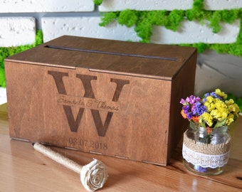 Personalized Wedding Card Box With Slot Wood Card Box Wedding Card Holder Wedding Money Box Rustic Card Box Cards Box Wedding Envelope Box
