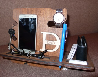 Personalized Wooden Docking Station Phone Stand Wooden Organizer Father Day Gift Custom Docking Station Boyfriend Gift Husband Gift