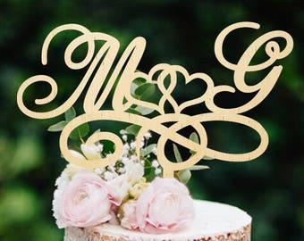 Custom Cake Topper Initials Cake Topper Wedding Cake Topper Wooden Cake Topper Monogram Cake Topper Name Cake Topper Rustic Cake Topper