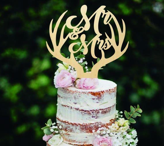 Holz Cake Topper Hochzeitstorte Topper Hirsch Cake Topper Herr Etsy