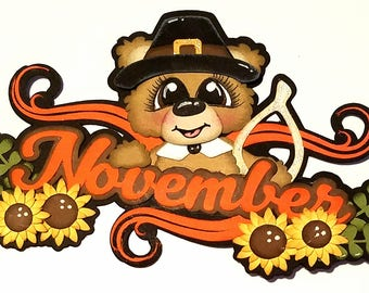 November Calendar Bear Scrapbook Embellishment
