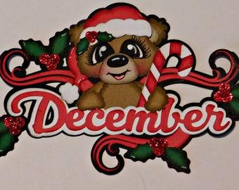 December Calendar Bear Scrapbook Embellishment