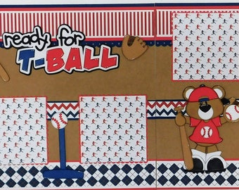 Ready for T-Ball Double Page Scrapbook Layout