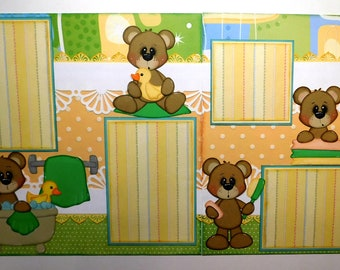 Bathtime Bears Double Page Scrapbook Layout