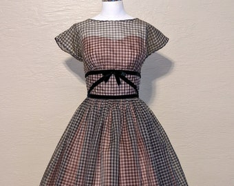 """Layered & Lovely! Luscious 1950s Gingham Chiffon Dress - Vintage 1950s 50s Dress - Sheer Gingham Dress w Taffeta and Tulle Petticoat - W27"""""""