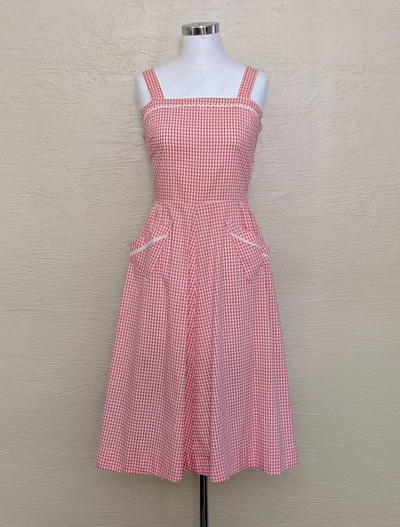 1940s Cotton Sundress - 40s Sundress - 40s Gingham