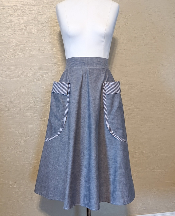 Lovely 1940s Chambray Skirt with Amazing Pockets!