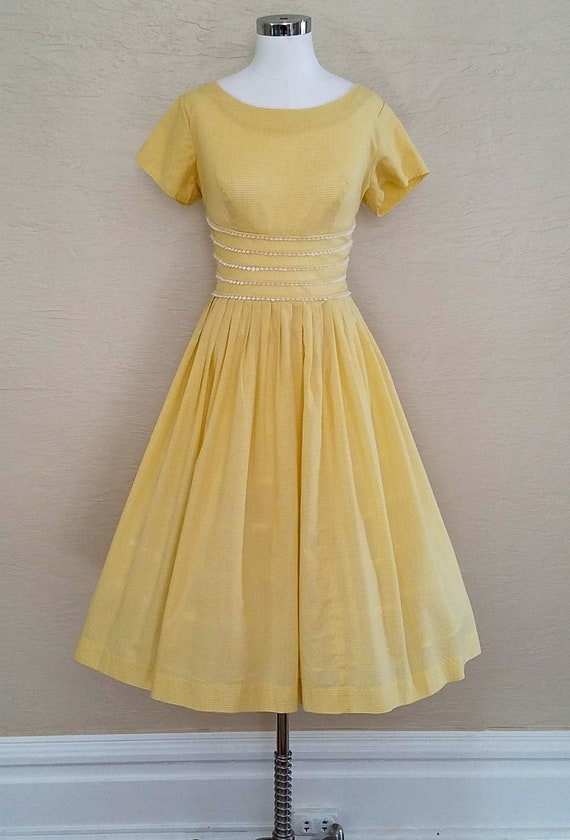 Vintage 50s Dress - Gingham Dress - 50s Swing Dres