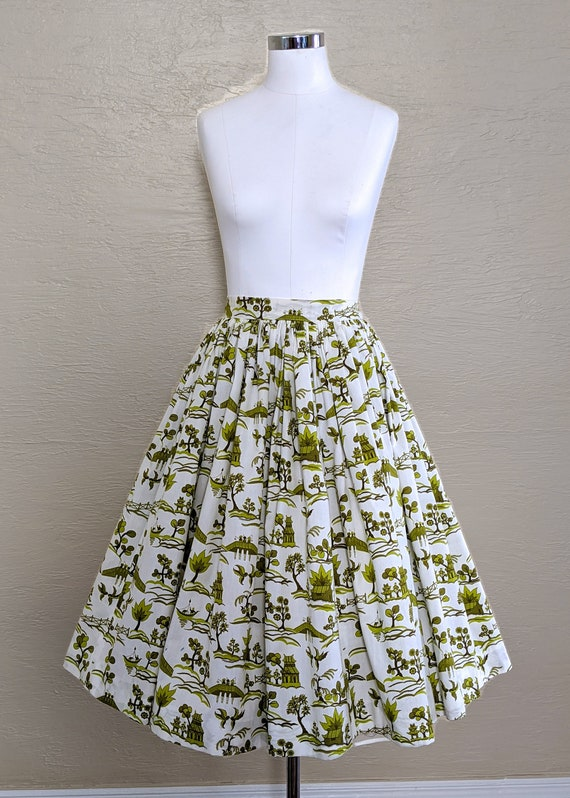 50s Novelty Print Skirt - Swing Skirt - Circle Ski