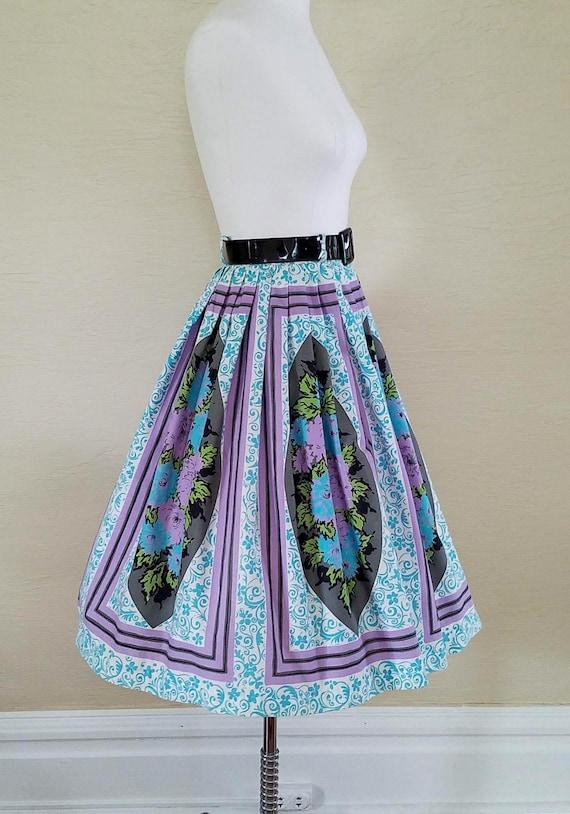 Pristine Posies - 50s 1950s Novelty Print Skirt -… - image 3