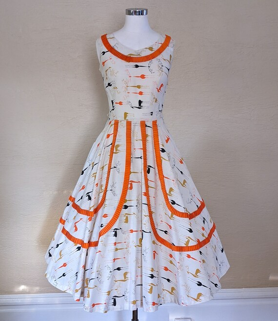 Oh, Deer! Adorable 1950s Novelty Print Sundress w/