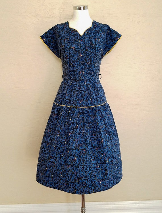 Crisp, Colorful Cotton 1950s Dress - 50s Dress - V