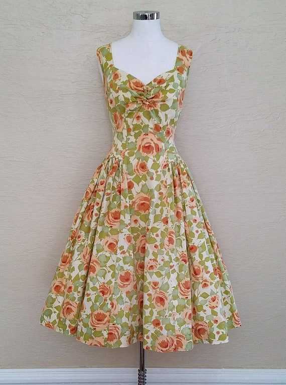 Novelty Print Dress - 50s Dress - 1950s Dress - Sw