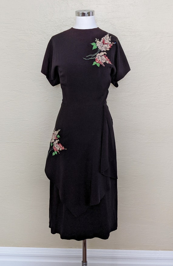 1940s Rayon Dress - 40s Rayon Dress - Volup 40s Pe
