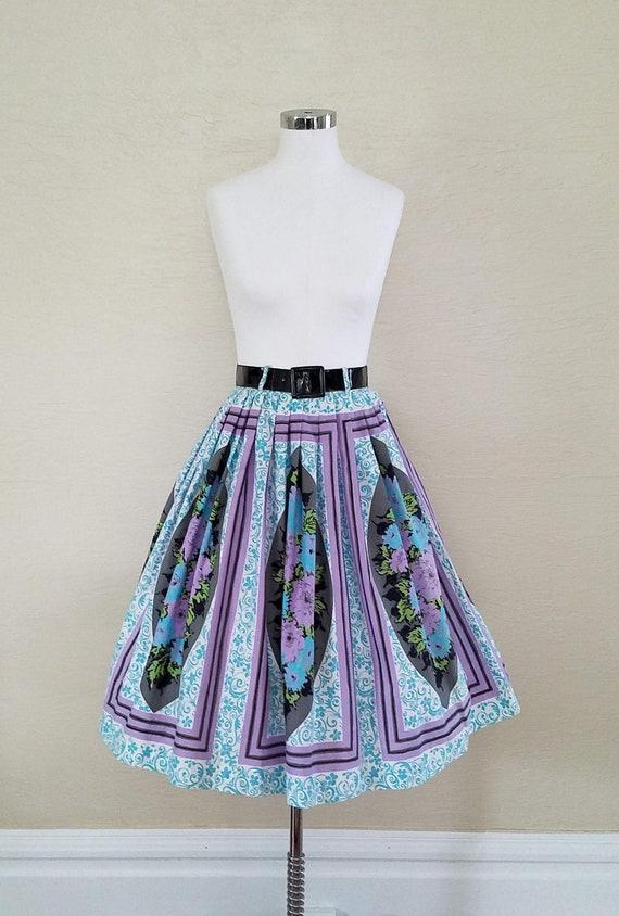 Novelty Print Skirt - 50s Skirt - 1950s Skirt - Vi