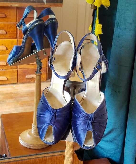 1930s Satin Shoes - 30s Evening Sandals - 1930s Sh