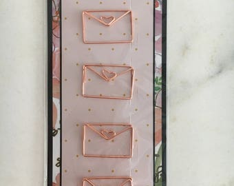 """Paperclips plated metall """"envelop"""" rosegold"""