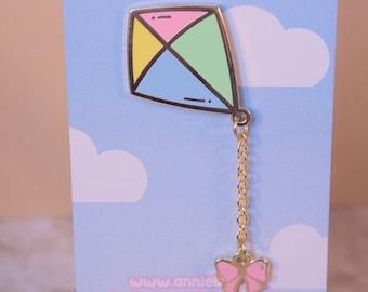Fluttering Kite enamel pin, lapel pin unique stocking filler  gift