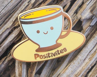 Positivitea Enamel Pin tea teacup stocking filler  gift