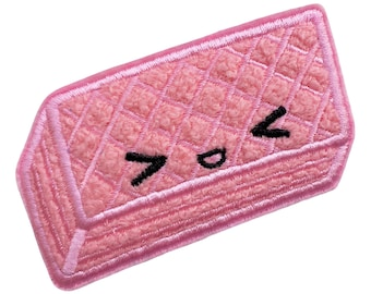 Pink Wafer Chenille and Embroidered Iron On Patch cute, kawaii, biscuit stocking filler  gift