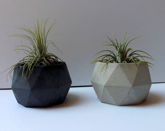 circular geometric cement planter // desk accessory // wedding favor // unique gift // air plant // concrete planter // birthday gift