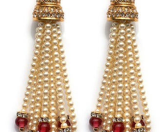 Ruby/Jet  and Seed Pearls tassle earrings
