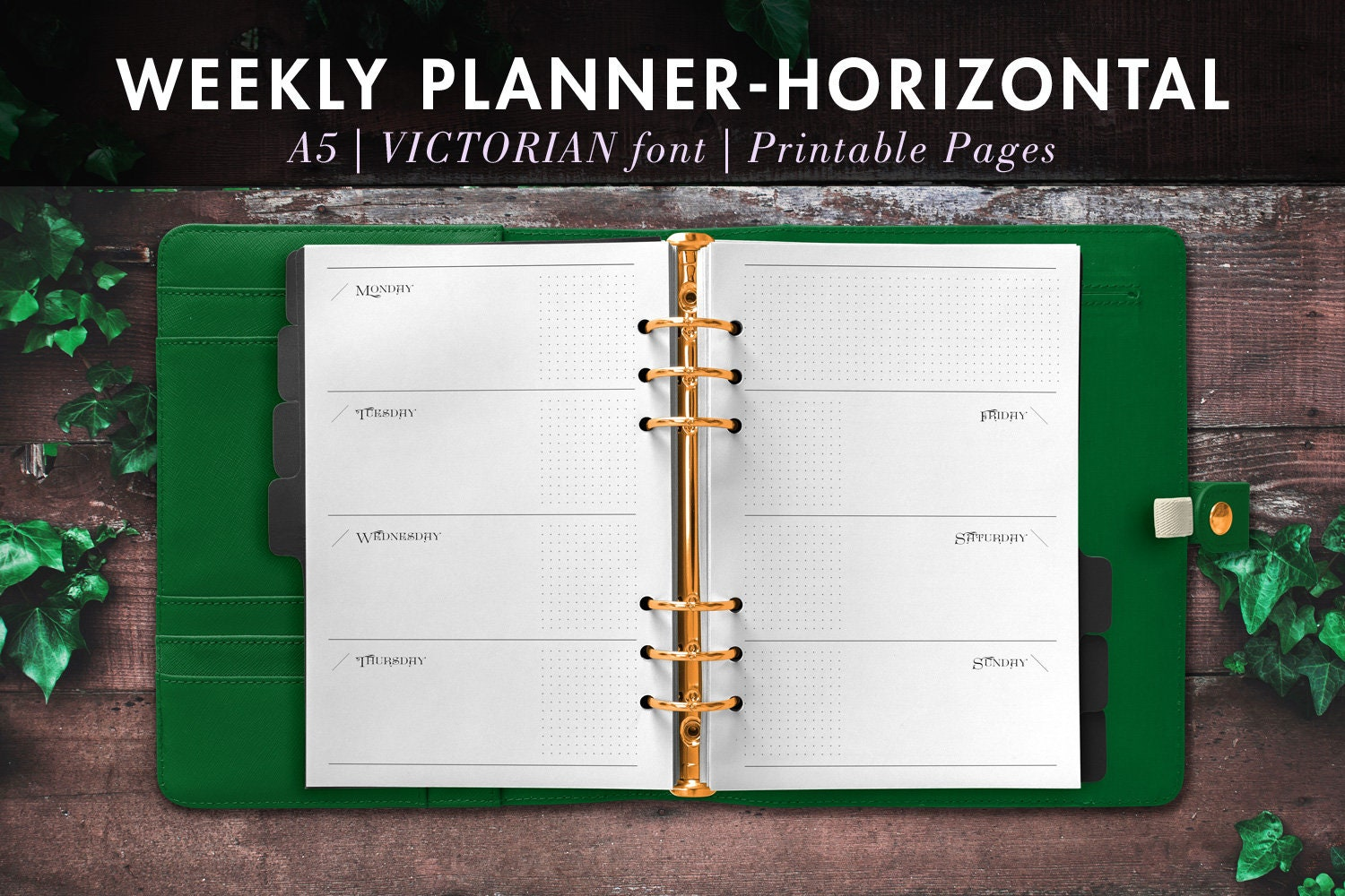 picture about Diy Planner Printables named VICTORIAN font Horizontal A5 Do it yourself Bullet Magazine Bujo Printable Planner 2-Website page Weekly Inserts Undated Monday Begin - Filofax Kiki K