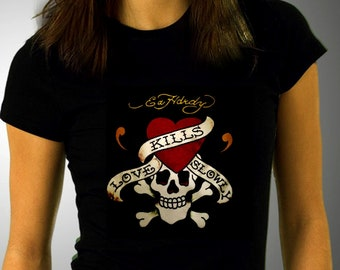 66e457861c4 Ed Hardy skull T-Shirt   Rocker Clothing   Graphic Shirt   Printed T-Shirt    Women Sexy Clothing   Trendy Tee   Popular shirt   Skeleton Tee
