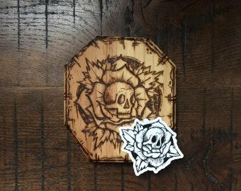 SkullRose- ILvisuals Wood Burning & sticker pack.