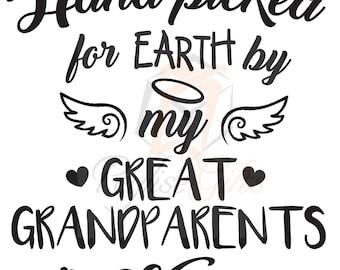 Custom Handpicked by Heaven OneiesGrandmaGrandpaNanaPa-Pa