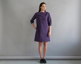 Women loose dress - Winter dress - Women winter dress - Loose cotton dress - Cotton casual dress - Midi dress - Fall dress - Purple dress