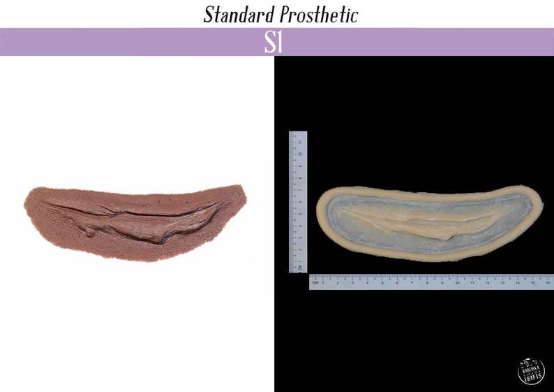 Platinum silicone gel with cap plastic edges. Silicone prosthetic Slashed throat S1