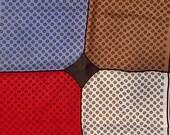 Vintage Silk Pocket Square.Blue,Grey, Red. Abbe Mens Handkerchief.