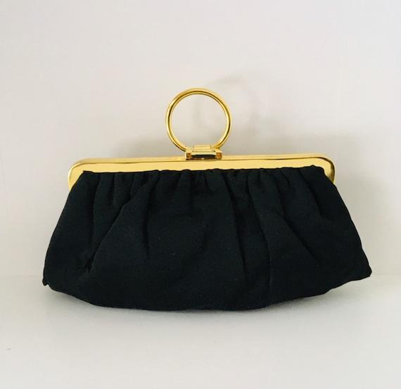 Vintage Black Evening Purse with Gold Handle. Juli