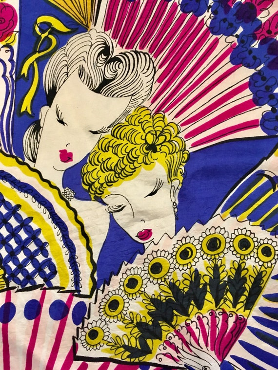 Vintage 1940's Ladies and Fans Scarf, Silk Square.