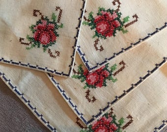Vintage Embroidered Napkins. Linen, Cross Stitch, Hand Made.