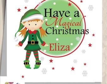 christmas card elf card personalised elf christmas elf magical christmas kids christmas baby children - Elf Christmas Card
