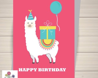 Llama card, llama birthday card, birthday card,