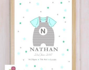 Nursery art, Birth announcement, home decor, New baby print,
