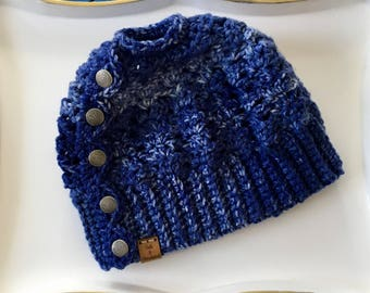 Blue Denim Messy Bun Beanie with Buttons
